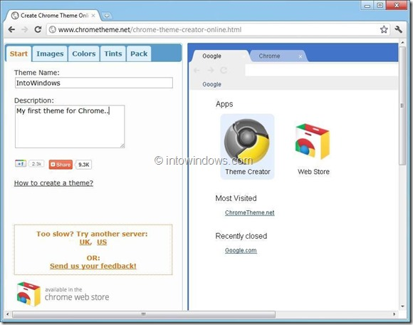 Create Customized Theme for Google Chrome Online