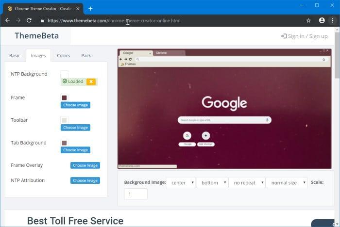 Create Google Chrome Theme Online