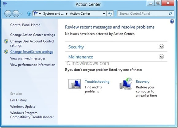Disable Windows SmartScreen In Windows 8 Step2