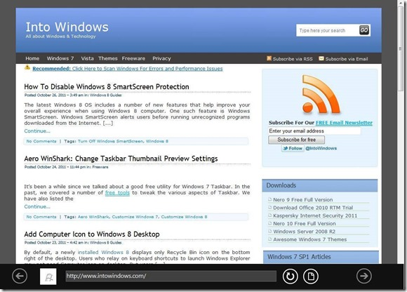 Metro Internet Explorer 10 Browser For Windows 7