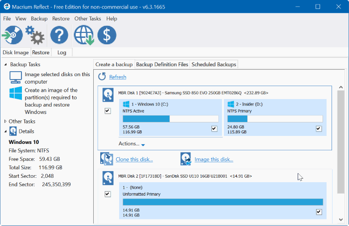 macrium reflect free edition for Windows 10