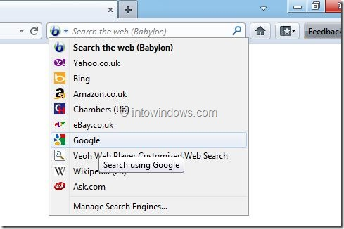Remove Babylon Search From Chrome , Internet Explorer and Firefox Step 6