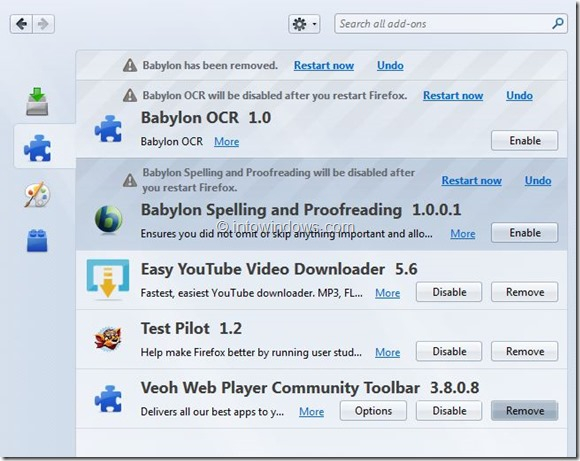Remove Babylon Search From Internet Explorer and Firefox Step6