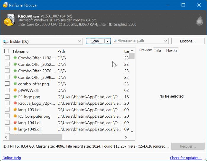 download recuva for Windows 10