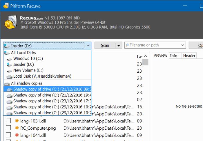 recuva free download for Windows 10