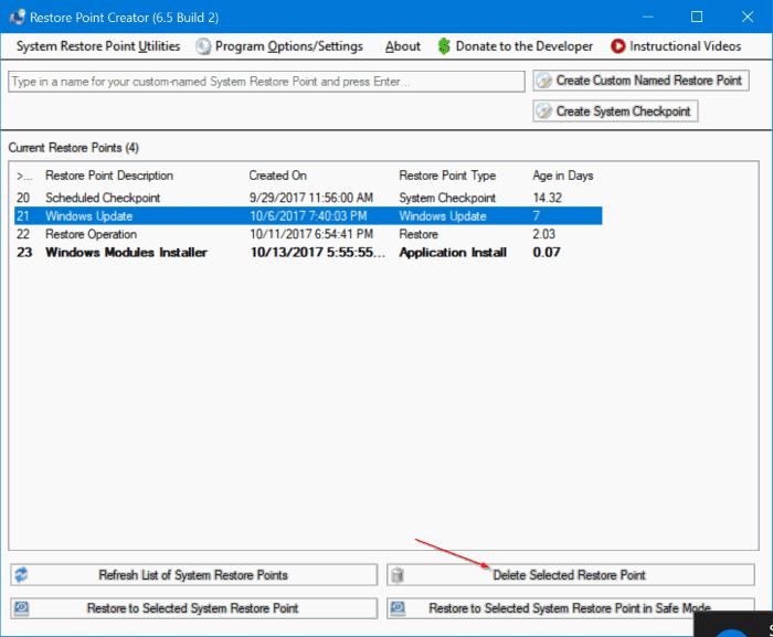 restore point creator windows 7