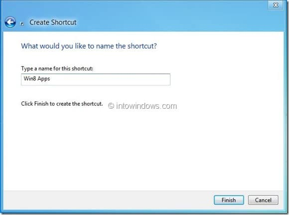 Create Metro Apps Shortcut On Desktop In Windows 8 Step3