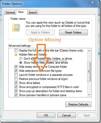 Hide Protected Operating System Files Option Missing