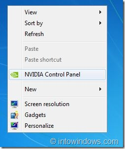 Remove NVIDIA Control Panel Entry From Right Click Menu