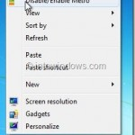 """How To Add """"Disable/Enable Metro"""" Option To Desktop Context Menu In Windows 8"""