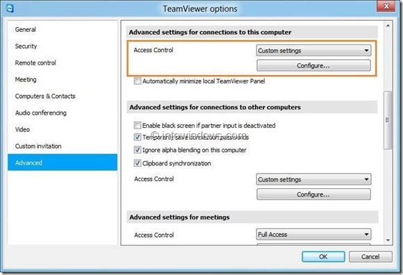 Change TeamViewer Access Control Settings Step1