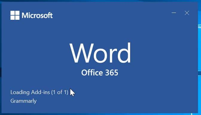 Disable Office 365 2019 2016 splash screen