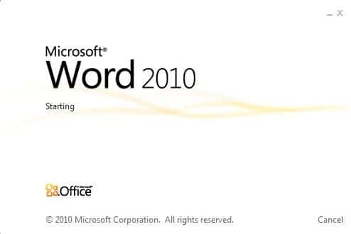 Office Word 2010 Splash Screen