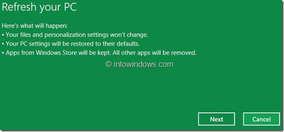 Refresh Windows 8 PC