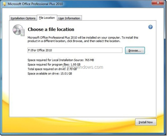 Install Office 2010 On A Different Partition step2