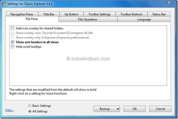 Sort Header for Windows 7 Explorer