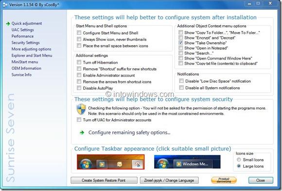 Sunrise Seven Tweaker for Windows 7