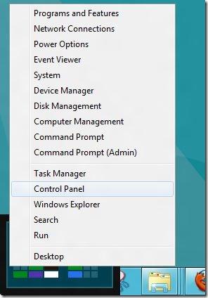Control Panel in Windows 8