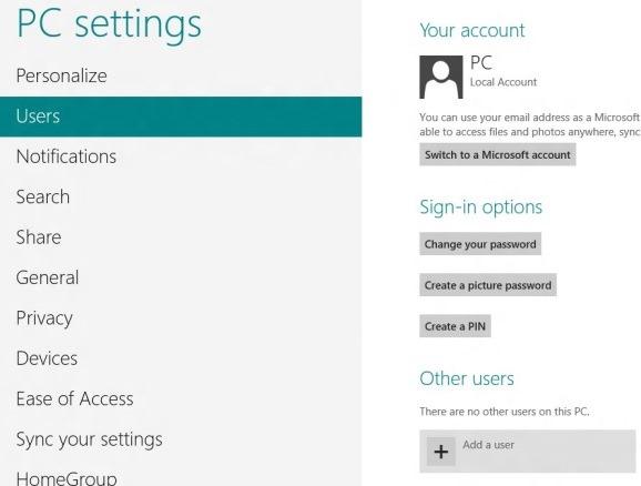 Create User Account In Windows 8