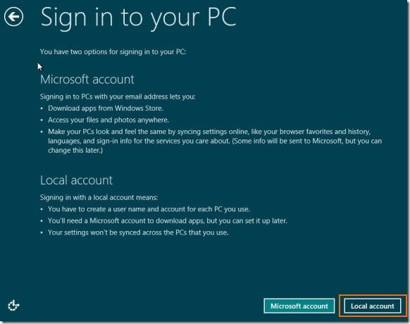 Create User Account Without email address in Windows 8 step1