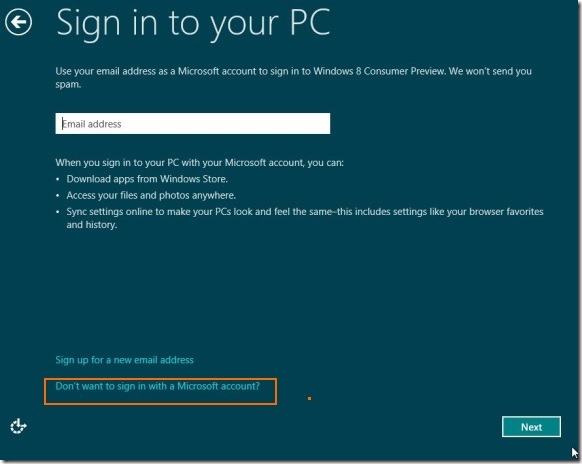 Create User Account Without email address in Windows 8