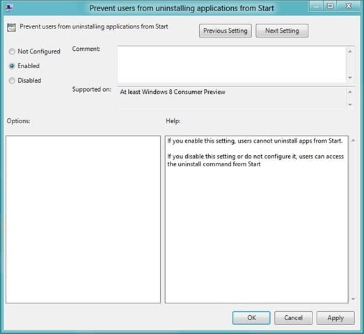 Prevent Users from uninstalling apps in Windows 8 step2
