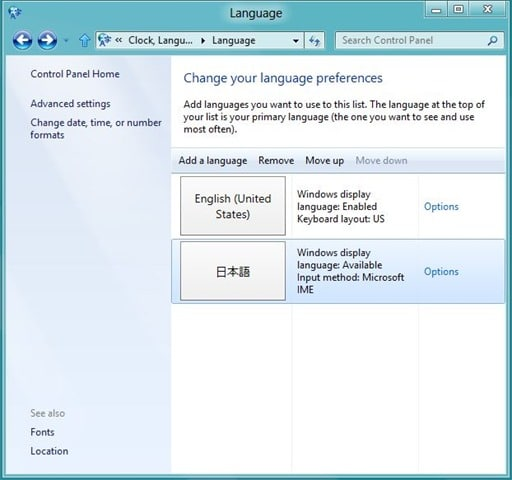 Uninstall Windows 8 Language Pack