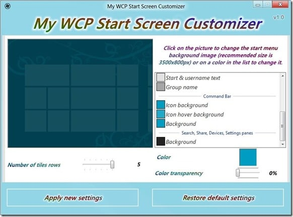 Windows 8 Consumer Preview Start Screen Customizer