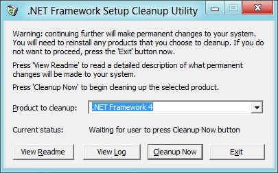 .net framework setup cleanup utility windows 8