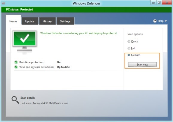 Scan A Folder Or Drive Using Windows 8 Defender