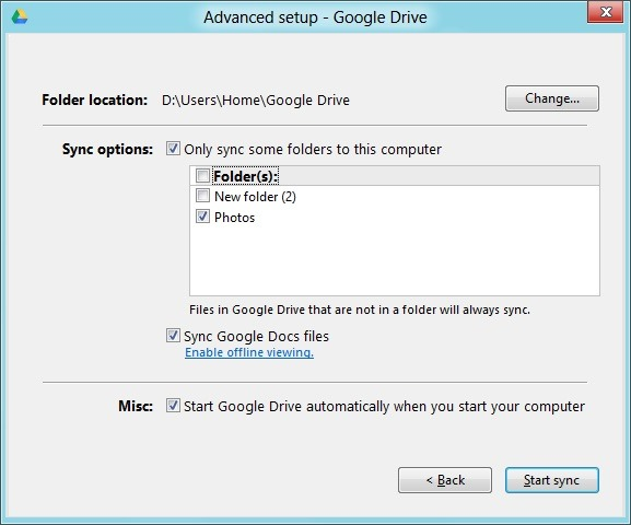 Sync Selected Folders In Google Drive