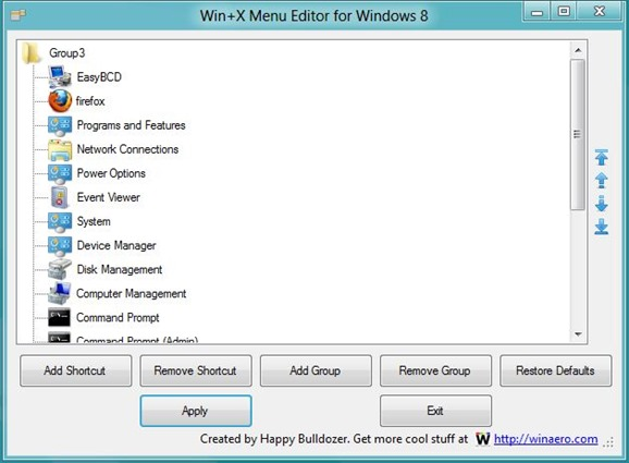 Win X Menu Editor