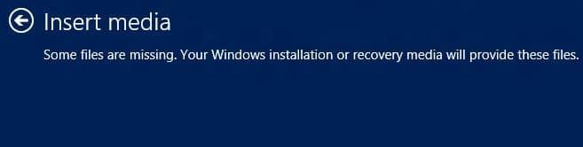 windows 8 reset insert media