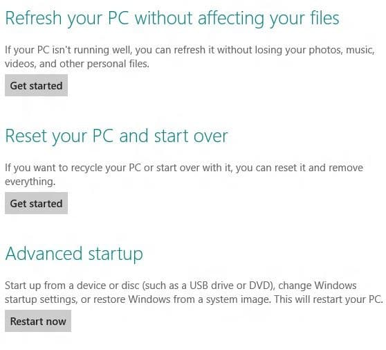 Reset or Refresh Windows 8 PC Withtout DVD Step2