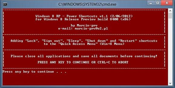 Add Shutdown, Restart and Sleep To Win X Menu In Windows 8