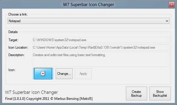 W7 Superbar Icon Changer