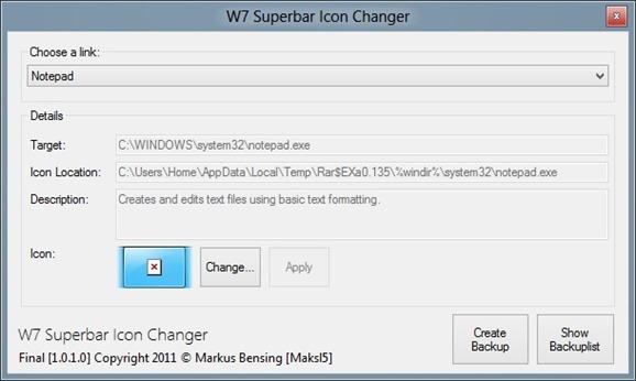 W7 Superbar Icon Changer