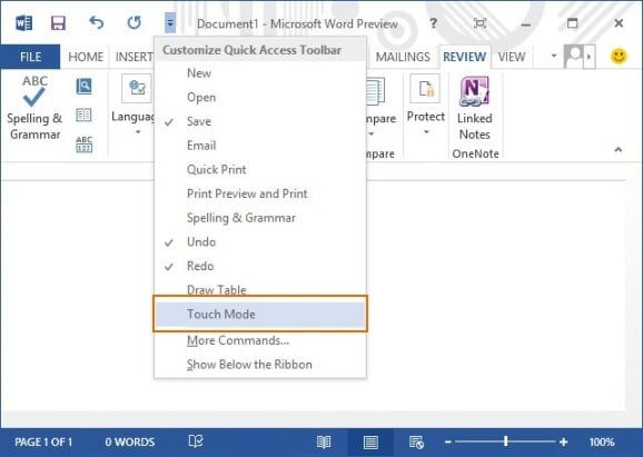 Activate Touch Mode In Office 2013