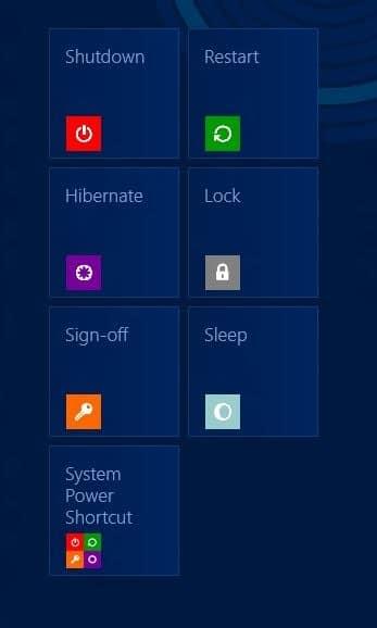 Add Shut Down, Restart, & Hibernate To Start Screen In Windows 8