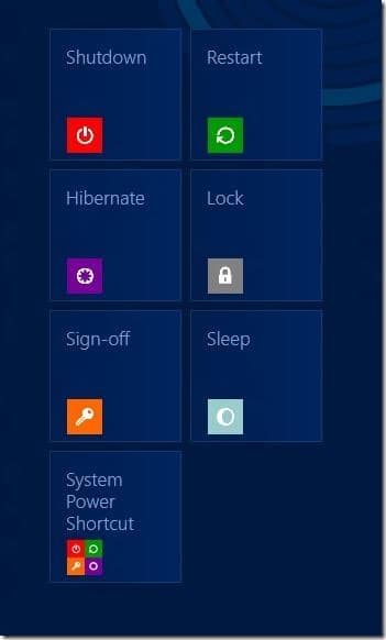 Add Shut down, Restart, Hibernate to Start Screen Windows 8
