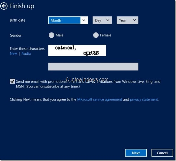 Create Microsoft Account In Windows 8 Step7