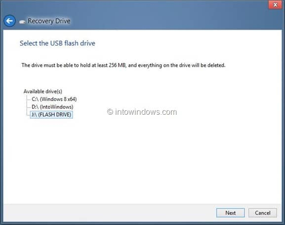 Create Windows 8 Recovery Drive Step10