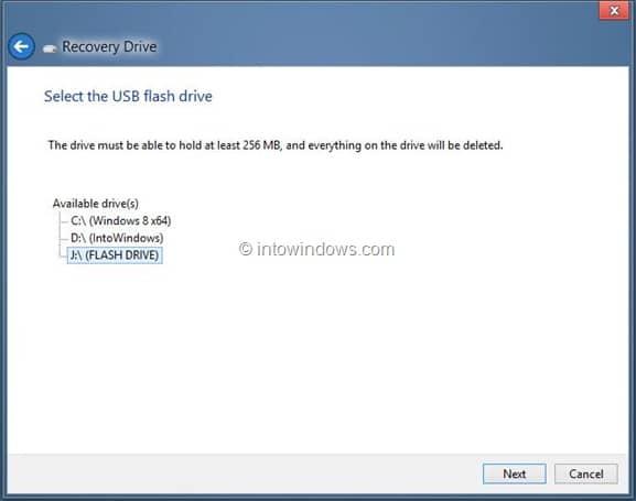Create Windows 8 Recovery Drive Step10