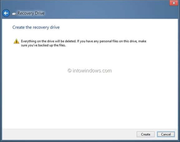 Create Windows 8 Recovery Drive Step11