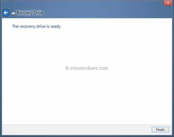 Create Windows 8 Recovery Drive Step12