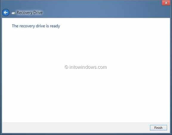 Create Windows 8 Recovery Drive Step12