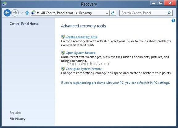 Create Windows 8 Recovery Drive Step8