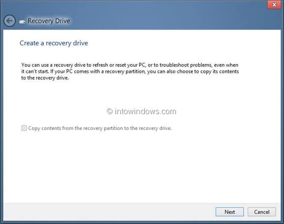 Create Windows 8 Recovery Drive Step9