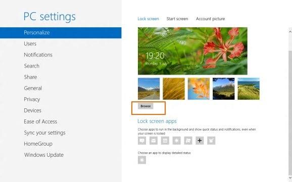 Customize Windows 8 Lock Screen1