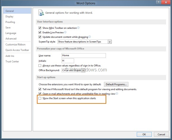 Disable Or Turn Off Start Screen In Office 2013 Step5